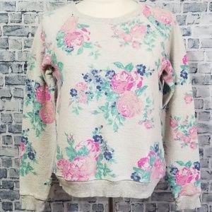 AE Inside Out Floral Print Raglan Sweatshirt S